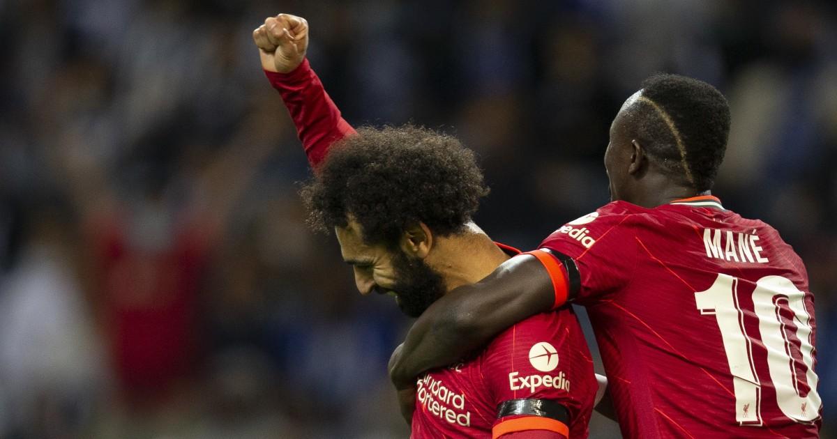 Mo Salah celebrates his goal with Sadio Mane