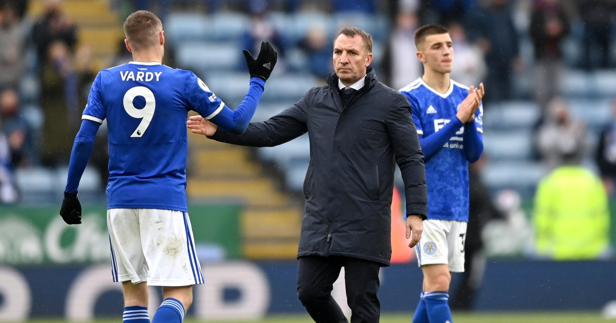 Brendan Rodgers and Jamie Vardy of Leicester