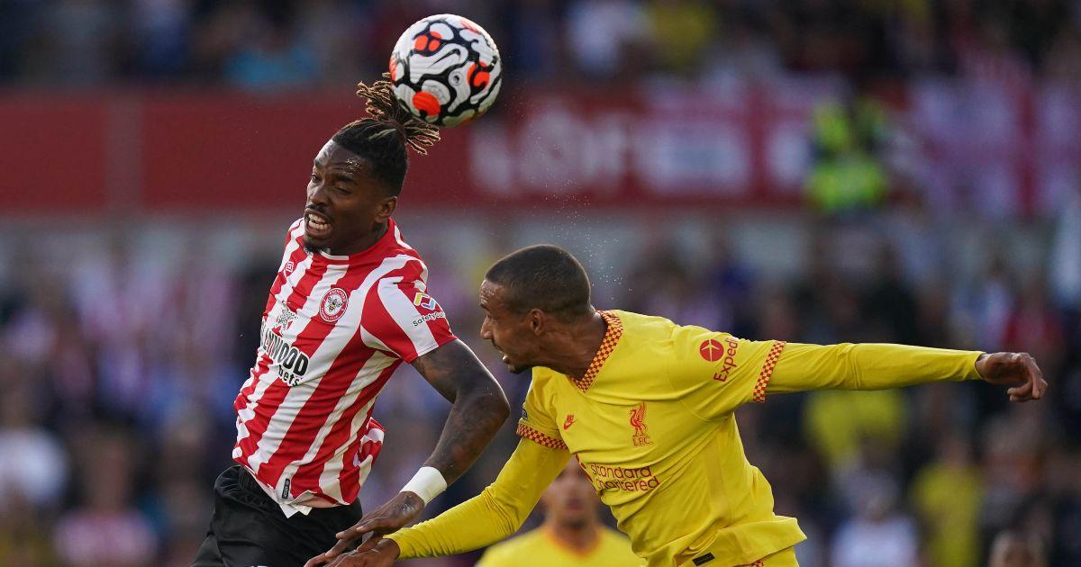 Brentford striker Ivan Toney heads the ball