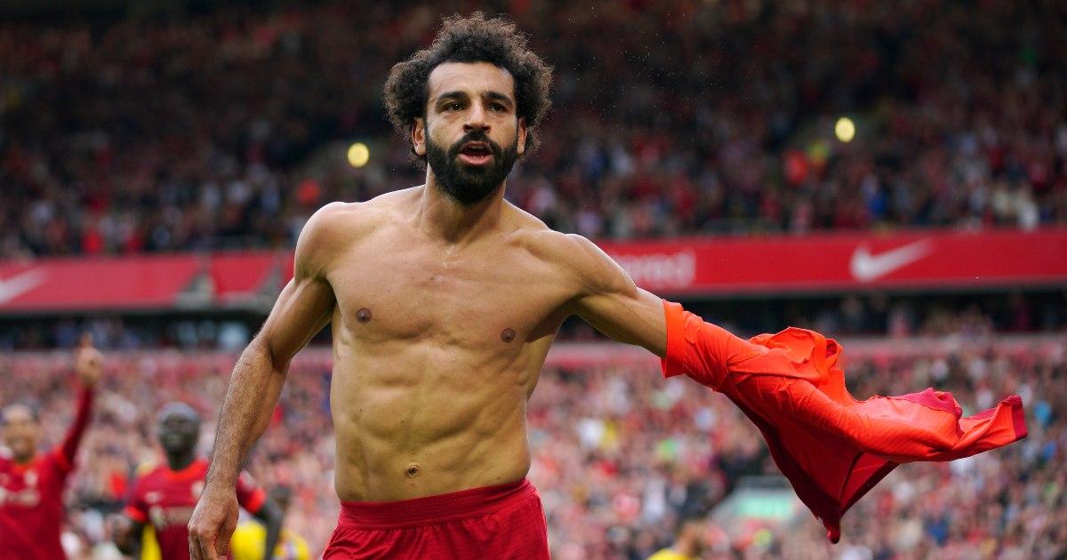 Mo Salah celebrates scoring a goal at Anfield