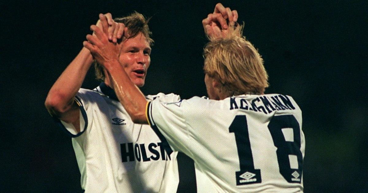 Jurgen Klinsmann and Teddy Sheringham in action for Tottenham in the 90s