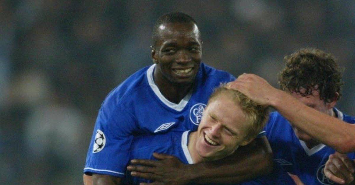 Chelsea's Claude Makelele and Damien Duff