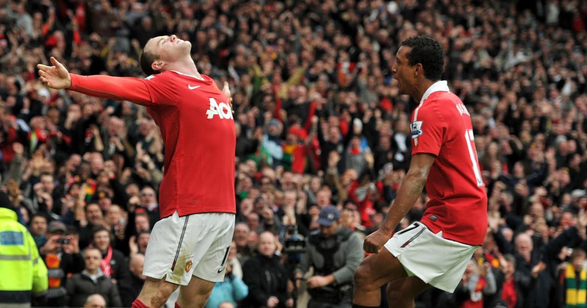 Manchester United striker Wayne Rooney celebrates his goal