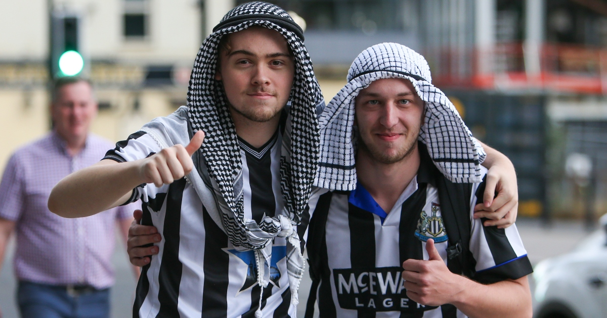 Newcastle fans react to the confirmation of the club's Saudi-backed takeover.