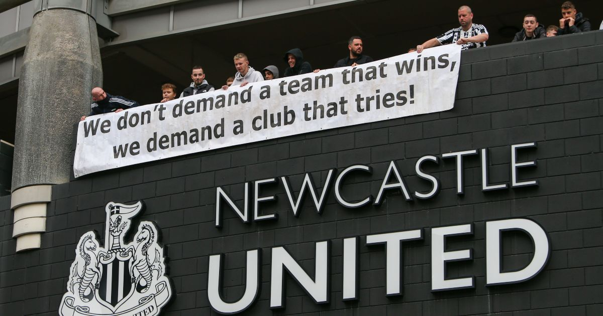 A Newcastle United banner