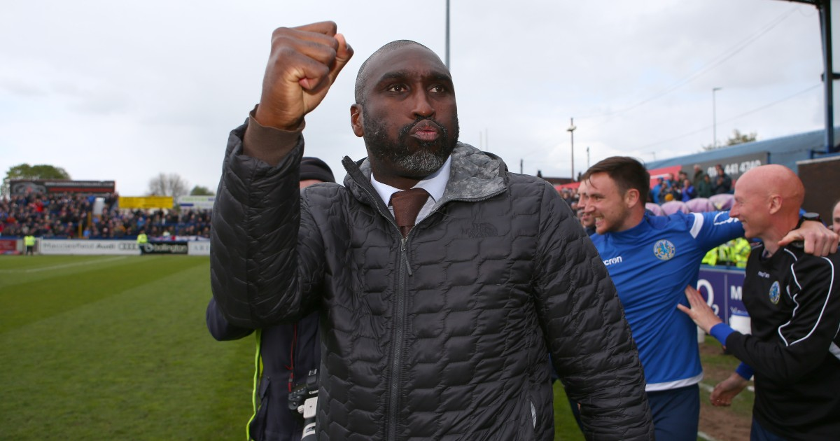 Sol Campbell celebrates at the final whistle