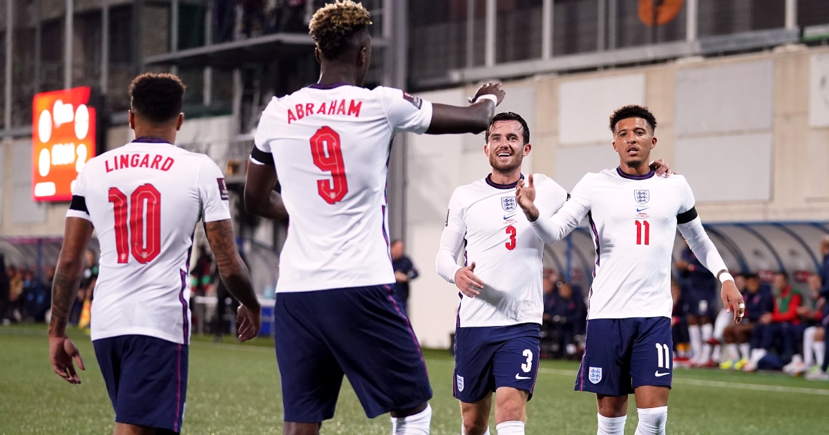 Tammy Abraham celebrates his goal in England's win over Andorra.