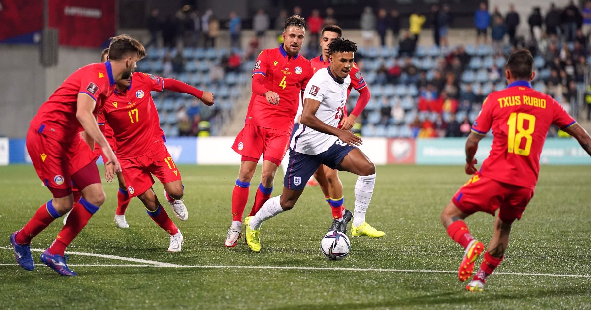 England striker Ollie Watkins surrounded by Andorra players