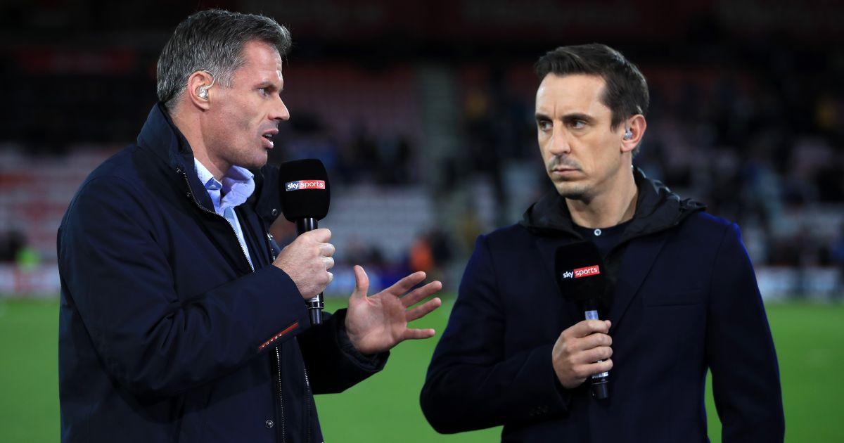 Jamie Carragher andex-Man Utd defender Gary Neville in their role as pundits