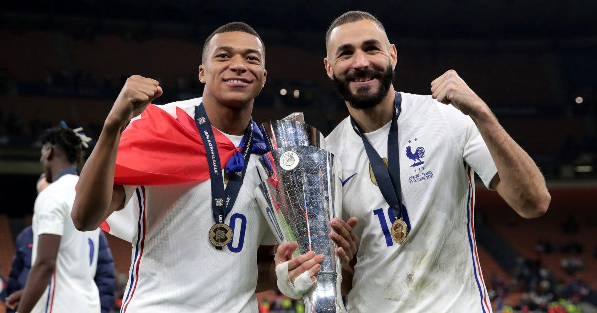 Kylian Mbappe and Karim Benzema celebrate