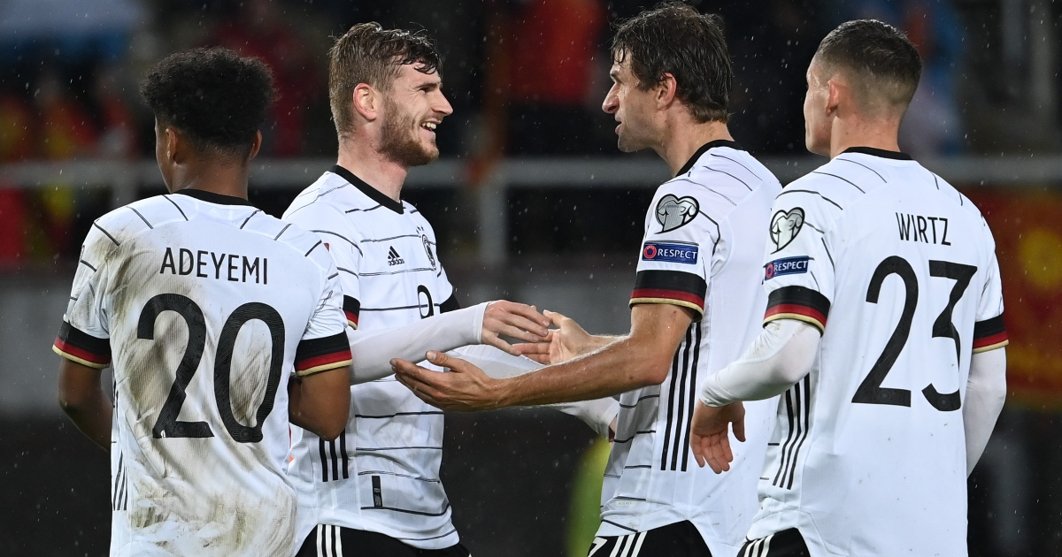 Newcastle target Timo Werner celebrates a goal for Germany