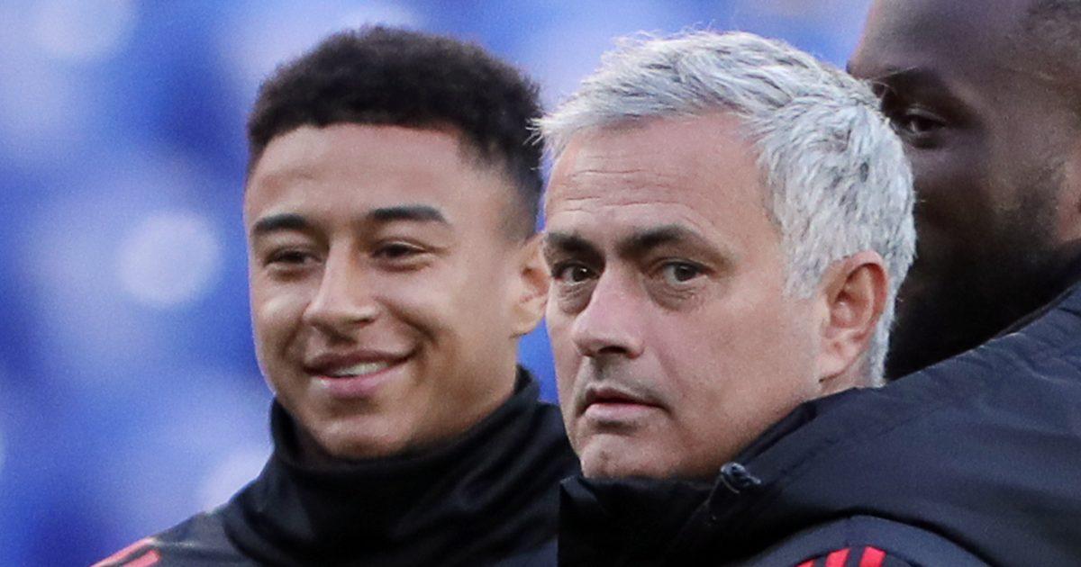 Jesse Lingard alongside Jose Mourinho