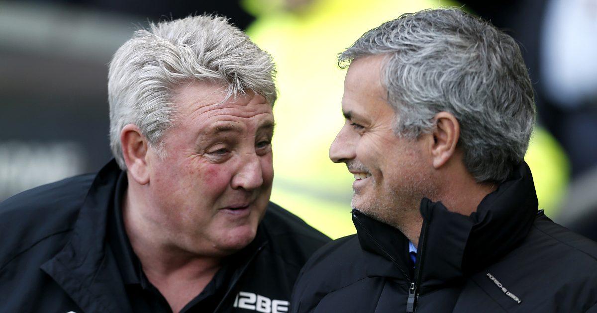 Steve Bruce alongside Roma boss Jose Mourinho